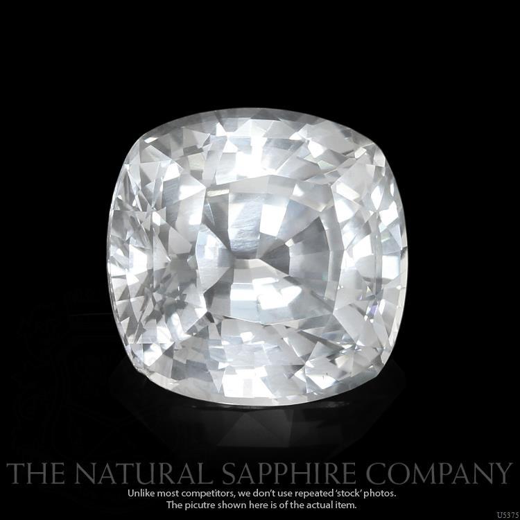 A natural white Cushion cut sapphire