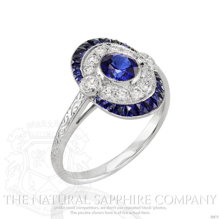 sapphire halo edwardian diamond ring engagement sappphire