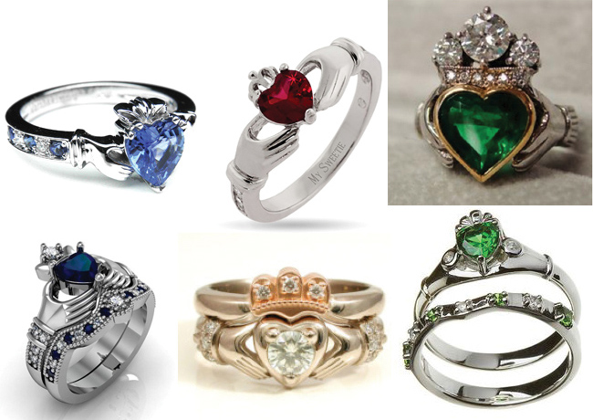 claddagh ring gemstones wedding sets - Claddagh Wedding Ring Sets