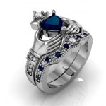 claddagh-ring-wedding-set-blue-stone (Etsy)