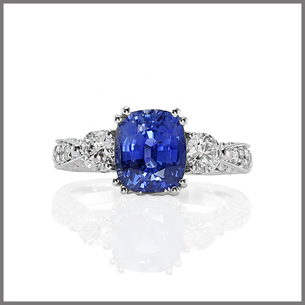 Glen white Blue sapphire ring