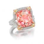 square padparadscha sapphire ring