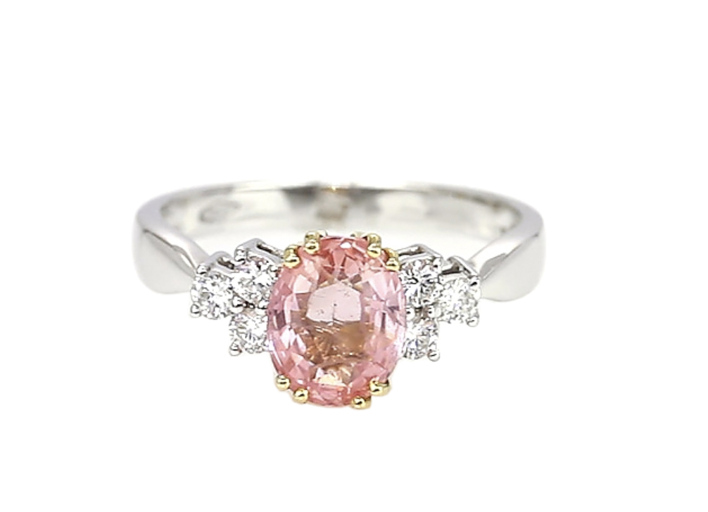 oval padparadscha sapphire ring