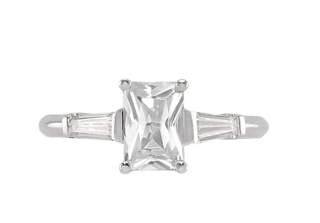 radiant white sapphire ring