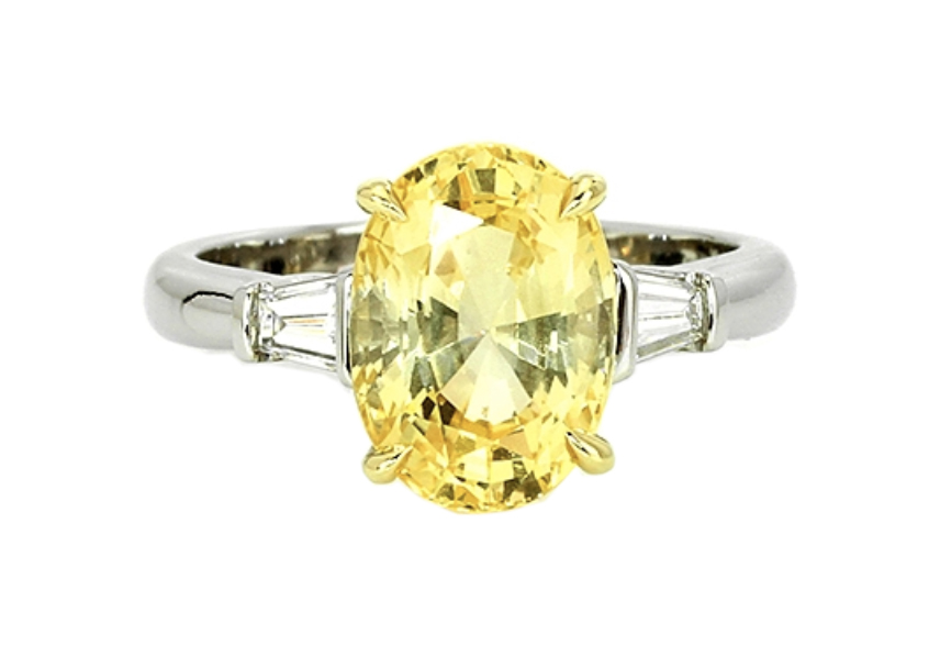 Ceylon yellow oval sapphire diamond ring