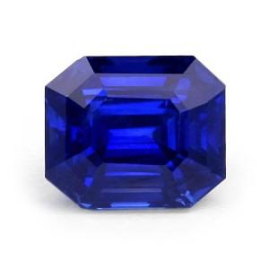 Burmese emerald cut blue sapphire