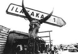Sapphire mining town sign in Llakaka Madagascar