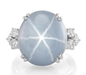 blue gray star sapphire ring