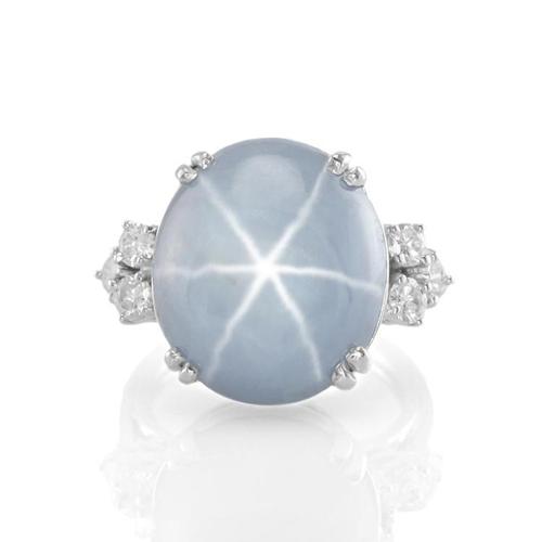 blue gray star sapphire ring J2073