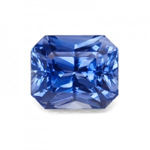 A blue radiant cut sapphire