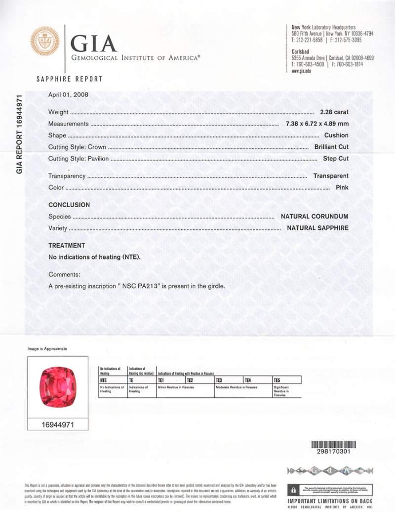 An example of a GIA certificate for a padparadscha sapphire.