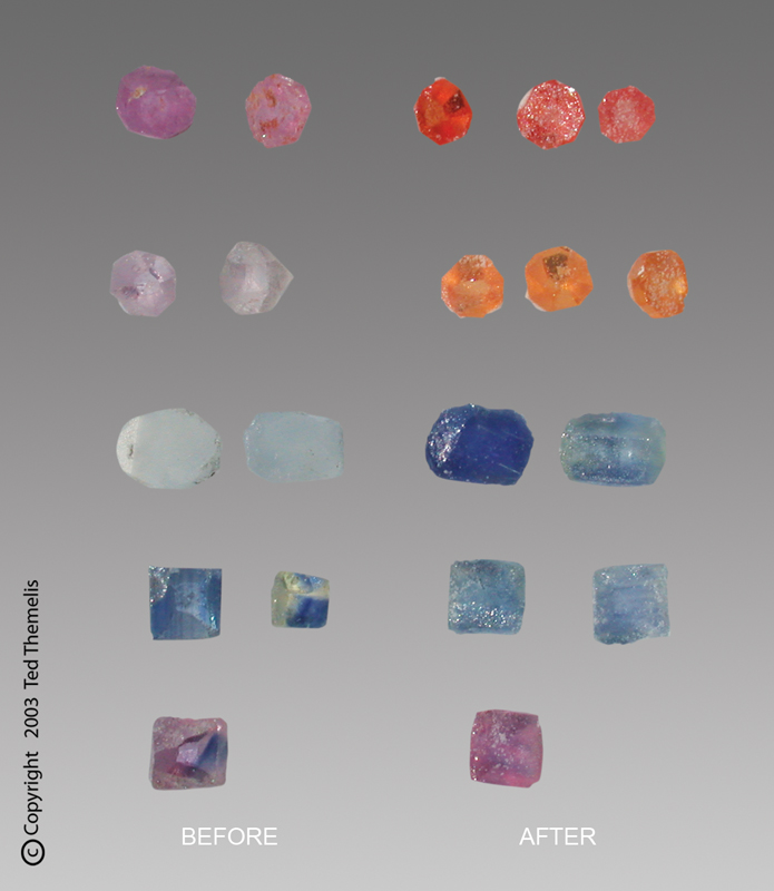 heated and beryllium treated sapphires of poor quality