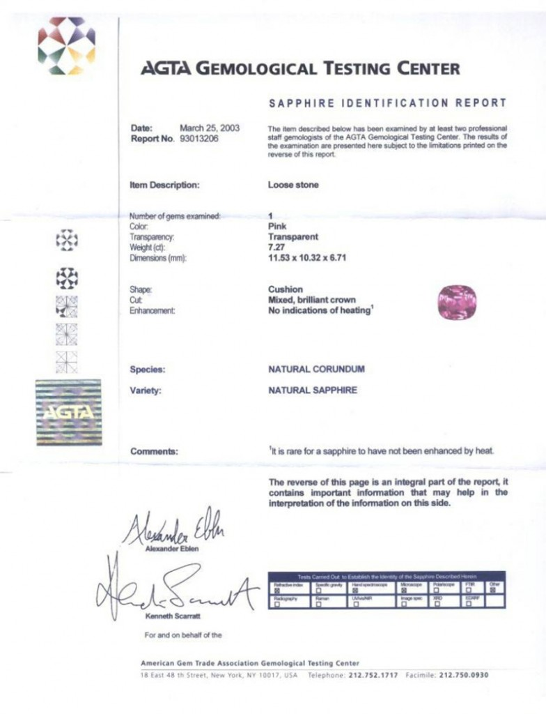 AGTA certificate stating the sapphire is unheated