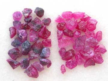 untreated and heat-treated rubies