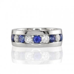 blue and white sapphire channel set band