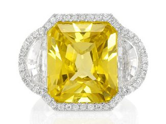 yellow radiant cut natural sapphire ring