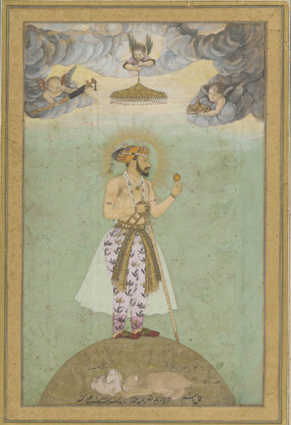 Shah Jahan standing on the globe of the world