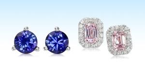 blue pink sapphire earrings