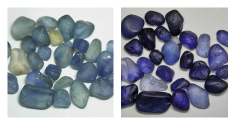 blue sapphires before and after heating