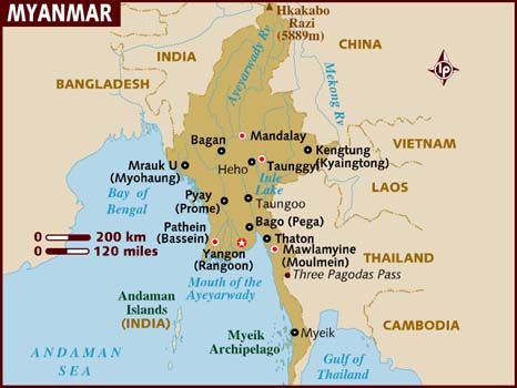 map of myanmar burma