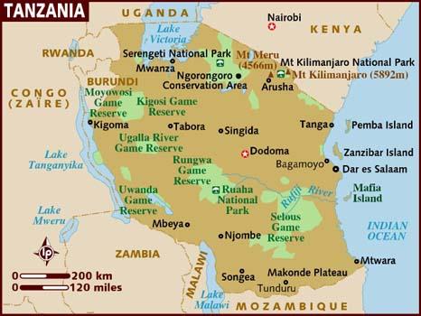 map of tanzania