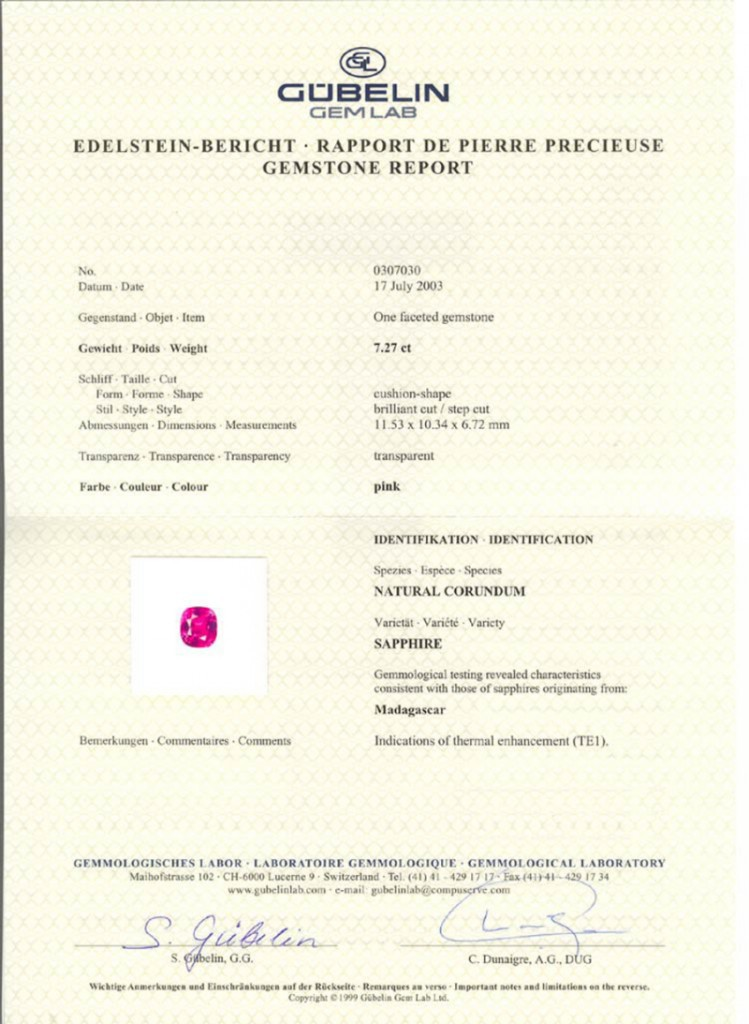 pink heated sapphire Gubelin certificate