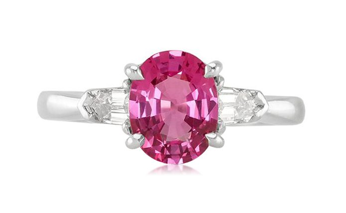 untreated pink sapphire engagement ring
