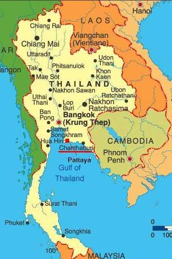 Thailand map sapphire mining