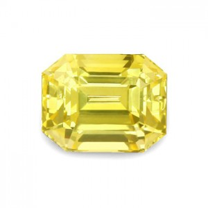 An untreated yellow emerald cut sapphire
