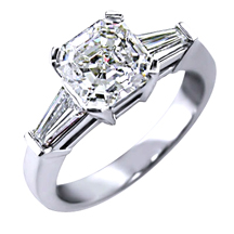 3 stone engagement ring with asscher cut diamond