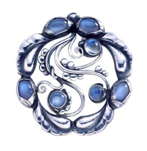 Georg Jensen silver and semiprecious stone brooch