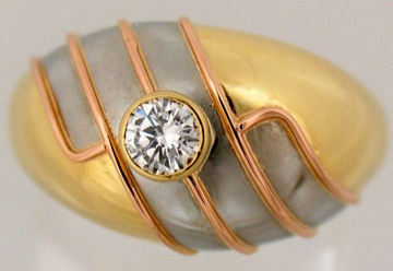 Dario ring 18k pink white and yellow gold