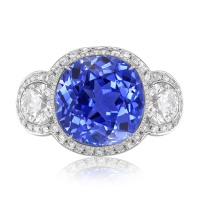 NSC blue antique cushion sapphire diamond and platinum ring
