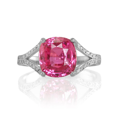 NSC pink sapphire palladium ring