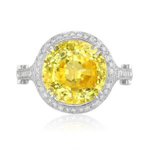 yellow sapphire and platinum ring