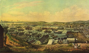 San Francisco Harbor during the gold rush