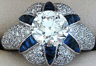 Art Deco sapphire and platinum ring