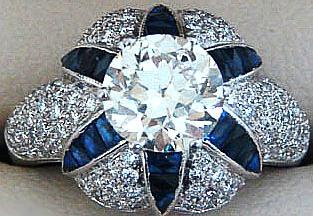 Art Deco sapphire and platinum ring