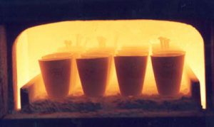 cupels in a furnace