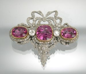edwardian spinel platinum and diamond brooch