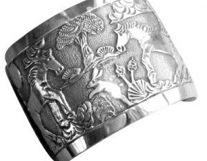 native american storyteller silver bracelet