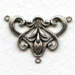 oxidized silver brooch