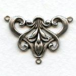 oxidized silver brooch