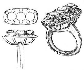 drawing of a rendered ring