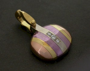 rose yellow and purple gold pendant