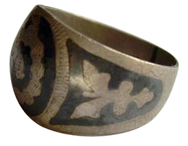 turkish ottoman niello silver ring