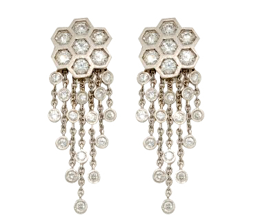vintage platinum and diamond earrings