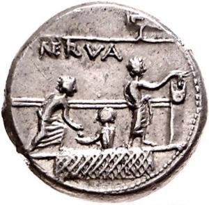 roman voting scene coin