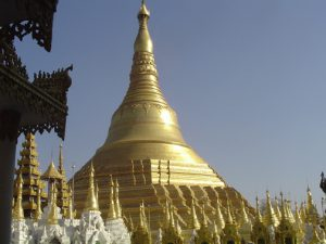 myanmar pagoda with gold leaf