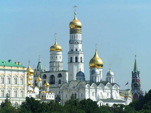 gold spires on the Kremlin